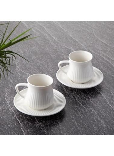 Tohana Tohana 2'li Çizgi Dokulu Modern Porselen Kahve Fincanı Takımı Renkli